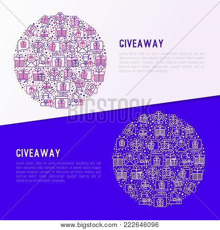 GIveaway or gifts concept in circle with thin line icons set: present in hand, trolley, cart, truck, envelope. Modern vector illustration, web page template.
