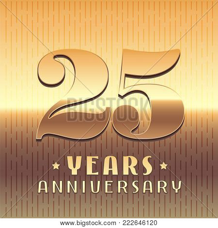 25 years anniversary vector icon, symbol. Graphic design element or logo with golden metal number for 25th anniversary