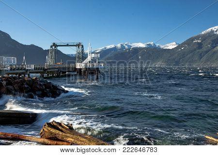 Pier in the bay of  Porteau Cove. Porteau Cove  Provincial Park  located near the