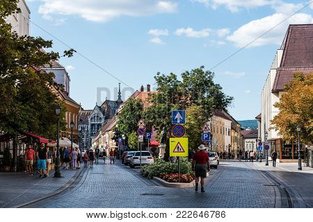 Budapest, Hungary - August 12, 2017:  Scenic view of street in the city of Buda in Budapest.