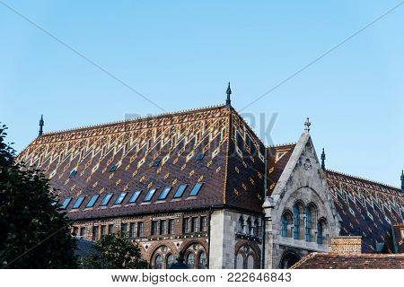 Budapest, Hungary - August 12, 2017: Low angle view of National Archives of Hungary building, located in the town of Buda in Budapest.