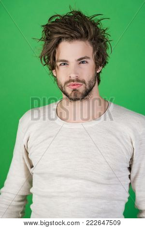 Man With Disheveled Hair In Underwear.