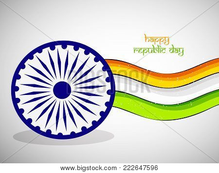 illustration of Indian flag and Indian flag wheel with Happy Republic Day text on the occasion of Indian Republic Day