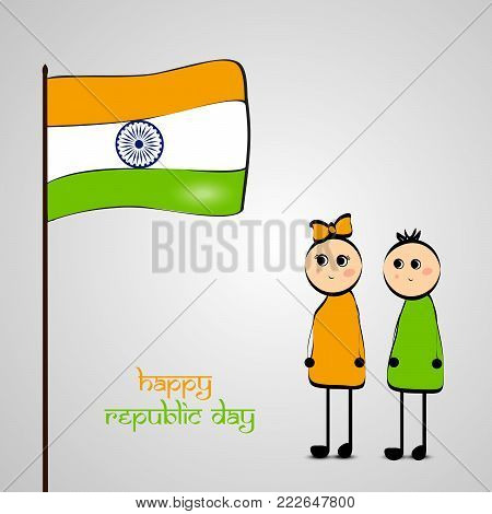 illustration of Indian flag, boy and girl with Happy Republic Day text on the occasion of Indian Republic Day
