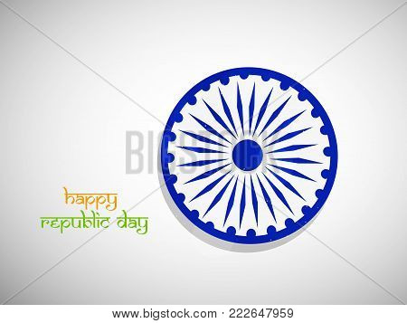 illustration of India flag wheel with Happy Republic Day text on the occasion of Indian Republic Day