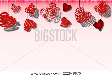 beautiful abstract illustration of red hearts hanging on a rope