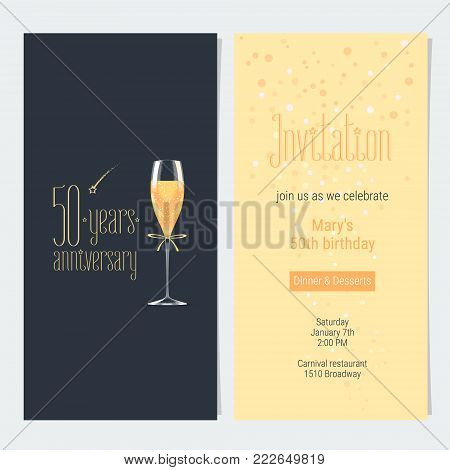 50 years anniversary invitation vector illustration. Design element with icon with age, lettering and bodycopy template for 50th anniversary greeting card, party invite