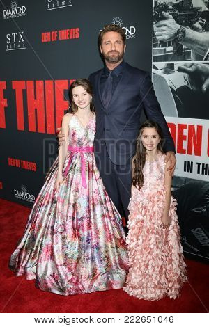 LOS ANGELES - JAN 17:  Elle Whitfield, Gerard Butler, Madelyn Lazar at the