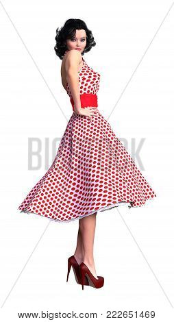 3D rendering of a beautiful vintage woman isolated on white background