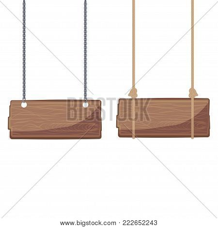 Wooden signboards hanging on ropes and chain - vector