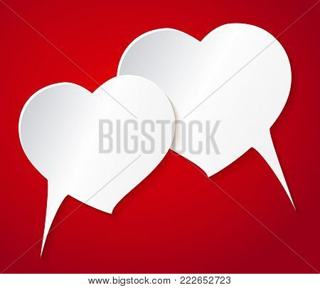 Vector illustration card, banner, flyer, template. Happy valentines day and weeding design elements. Speech balloons two heart. Be my Valentine.