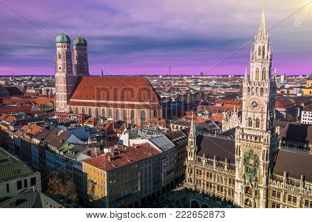 Evening panoramic cityscape dowtown of Munich at sunset, Bavaria, Germany