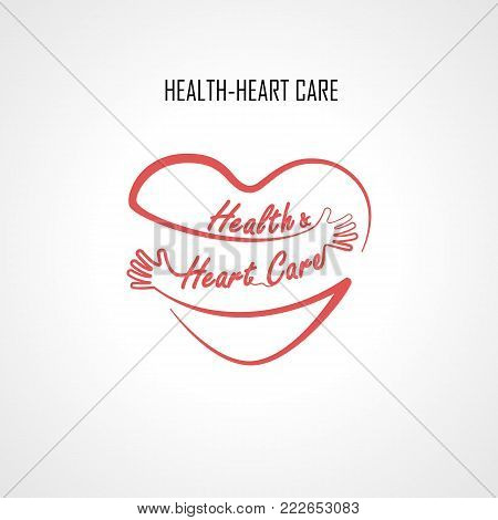 Health & Heart Care typographical design elements and Red heart shape with hand embrace.Hugs and Love yourself sign.Health and Heart Care icon.Happy valentines day concept.Healthcare & medical concept.Vector illustration