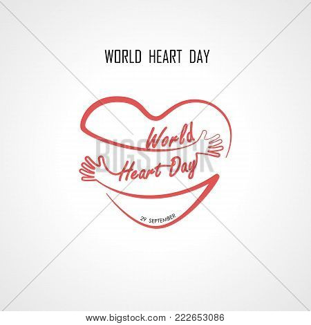 World Heart Day typographical design elements and Red heart shape with hand embrace.Hugs and Love yourself sign.Health and Heart Care icon.Happy valentines day concept.Healthcare & medical concept.Vector illustration
