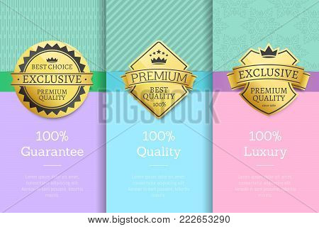 100 Luxury guarantee premium quality best golden labels sticker awards, vector illustration certificates posters covers isolated on color background