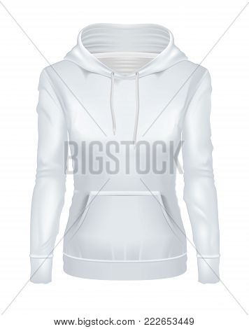 vector realistic white woman hoodie template mockup. Hooded sweatshirt, pullover, long sleeve sweater. Female clothing, apparel, illustration isolated on a white background ready for your design