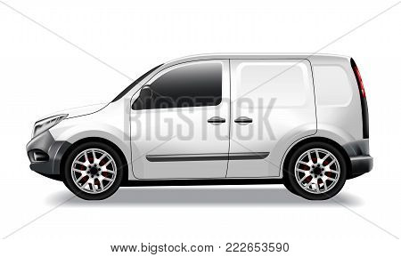 Vector realistic commercial car, delivery, cargo van mockup. White template for advertising, marketing, branding and corporate identity design. Isolated illustration, white background