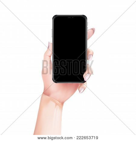 Vector girl hand holding smartphone in modern style. Realistic 3d mockup, high detailed mobile phone with black touchscreen with space for text. Isolated illustration template, white background