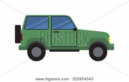 Green car side view icon, sport utility off-road vehicle isolated on white background, automobile with wheel at the back vector illustration