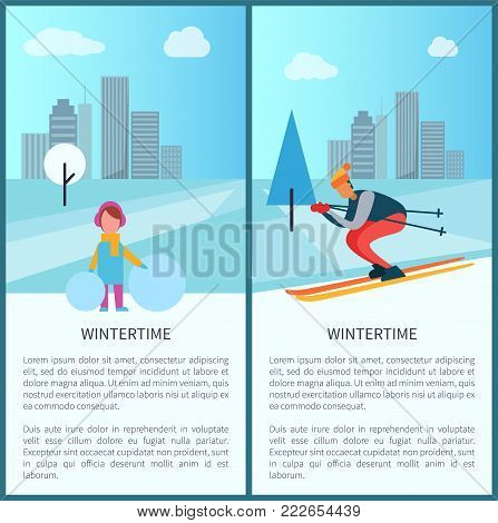 Wintertime collection, girl standing with snowball and skier riding down slope, text sample and headlines, skyscrapers of city vector illustration