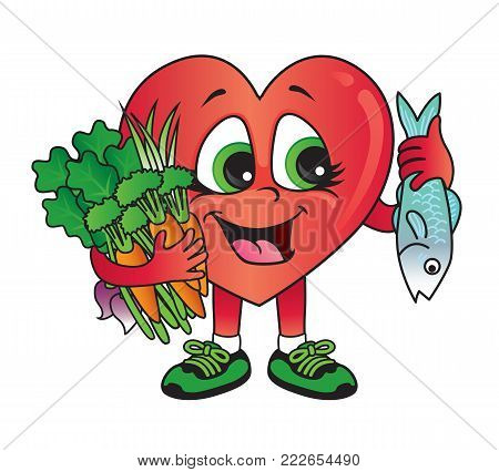 Eating the right food is good for your heart and for your health. Vector cartoon.