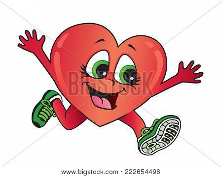 Exercise is good for your heart and for your health. Vector cartoon of a healthy heart running.