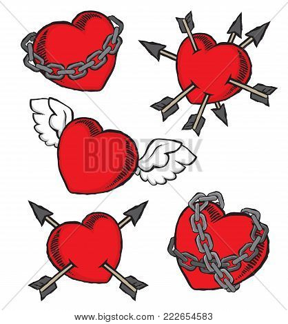 Set of grunge Valentines hearts for pins, badges or patches. Vector file.