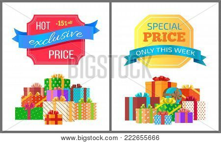 Exclusive hot price best offer only this week special posters with piles of gift boxes wrapped in decorative color paper, topped by bows vector banners