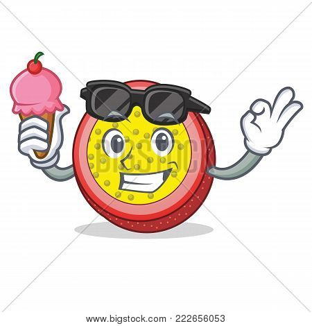 With ice cream passion fruit character cartoon vector illustration