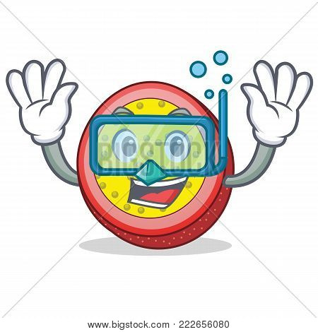 Diving passion fruit character cartoon vector illustration