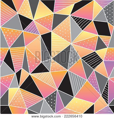Geometric low poly graphic repeat pattern made out of triangular facets.