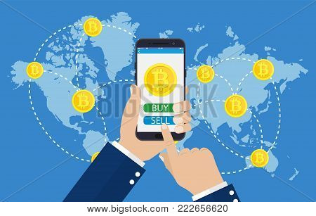 Mobile bitcoin business. Hand holding smartphone. Screen button buy, sell, bit coin, cryptocurrency. Finance, global digital money. Web site mobile app. Vector illustration in flat style