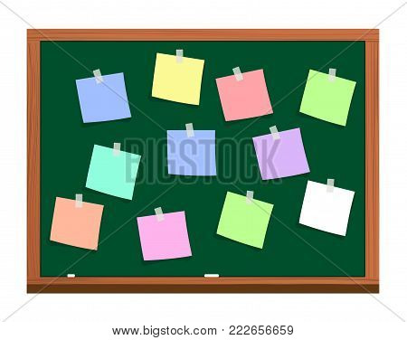 blackboard with post it notes. Development, team work, agenda, to do list. Vector illustration in flat style