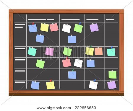 board full of tasks on sticky note cards. Development, team work, agenda, to do list. Vector illustration in flat style
