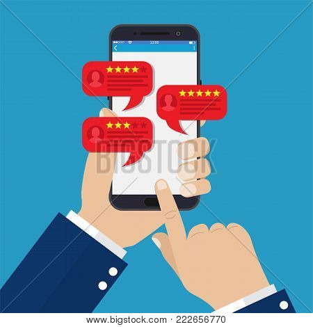 smartphone reviews stars with good and bad rate and text, concept of testimonials messages, notifications, feedback. Vector illustration in flat style