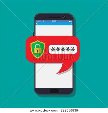 concept of smartphone security, personal access, user authorization, login, protection technology. Vector illustration in flat style