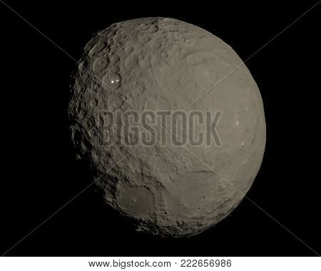 This image represent Ceres dwarf planet in a very high resolution 3d rendering