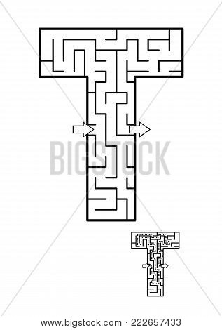 Alphabet  learning fun and educational activity for kids - letter T maze game. Answer included.