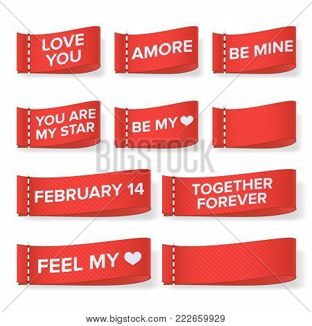 Valentine s Day Clothing labels Vector. Love You. Amore, Be Mine, You Are My Star, Together Forever, Feel My Heart. Isolated Illustration