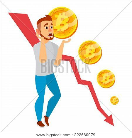 Bitcoin Crash Graph Vector. Bitcoin Price Drops. Crypto Currency Market Concept. Surprised Investor Or Businessman. Annoyance, Panic. Isolated Flat Cartoon Illustration