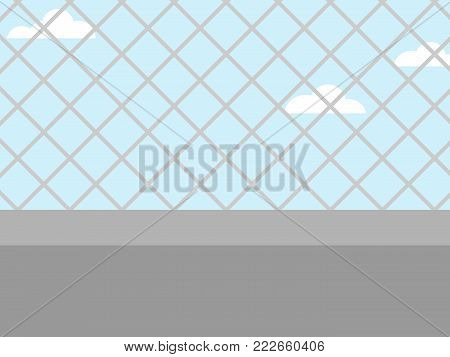 wall and wire fence.cloud blue sky background