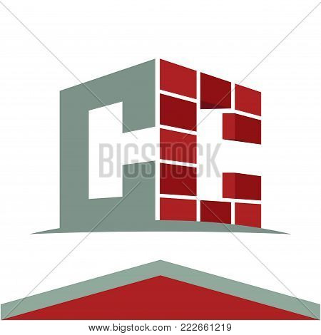 Icon logo for construction business with initials combination of letters C and C