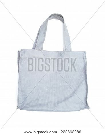 resusable gray polyester bag on white background