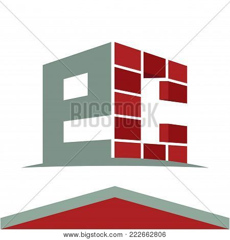 Icon logo for construction business with initials combination of letters E and C