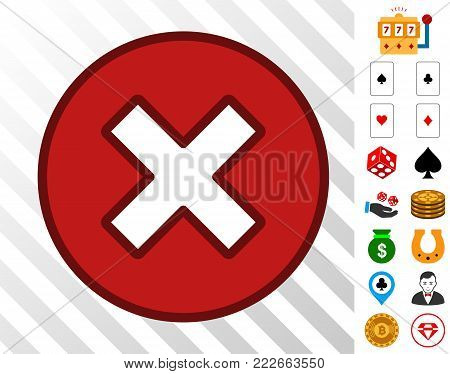 Cancel pictograph with bonus gamble pictures. Vector illustration style is flat iconic symbols. Designed for gambling apps.