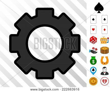 Gear pictograph with bonus casino icons. Vector illustration style is flat iconic symbols. Designed for gambling gui.