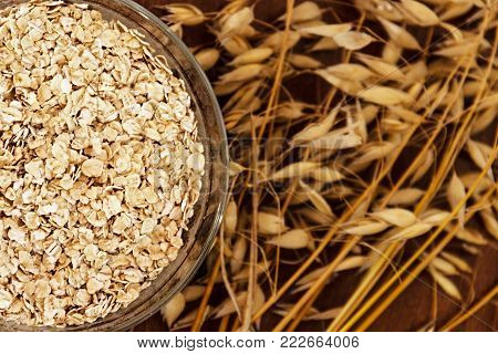 Oat ears stems and oat flakes in a bowl on a dark brown wood background. Top view. oat flakes small size grind. Copy space. Close up. Useful fiber-rich product. Dietary breakfast from healthy foods.