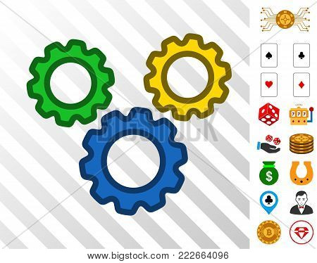 Options Gears pictograph with bonus gambling pictograms. Vector illustration style is flat iconic symbols. Designed for casino websites.