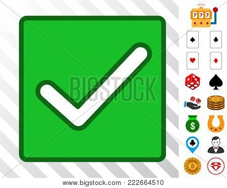 Valid Checkbox icon with bonus gamble images. Vector illustration style is flat iconic symbols. Designed for gamble websites.