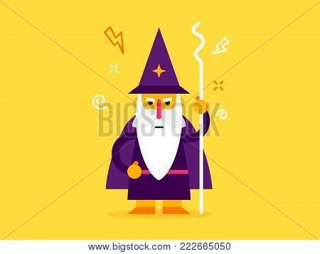 Old man wizard character. cool vector flat design. wizard with the beard and magic stick and big hat. Vector flat design